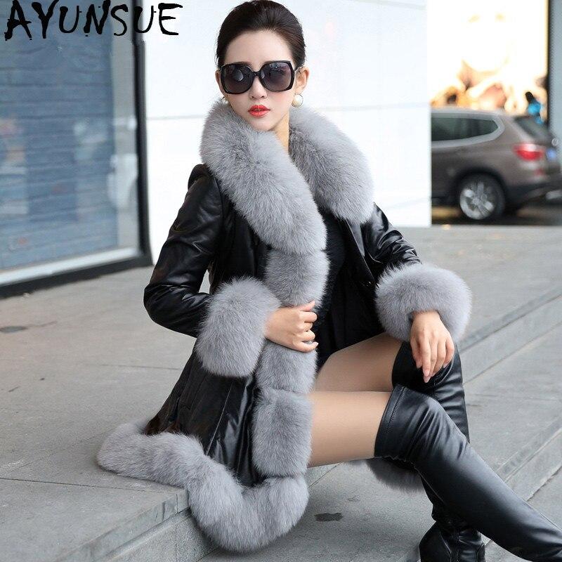Ayunsu سترة جلد طبيعي كبير الثعلب الفراء طوق أسفل سترة الشتاء سترة النساء 100% معطف جلد الغنم الحقيقي الإناث أبلى بلدي