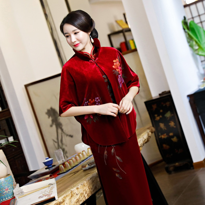 SHNEG COCO Velvet Cheongsam chal Top otoño azul marino Qipao chal Cheongsam especial-propósito chal banquete vestido completo Plus tamaño