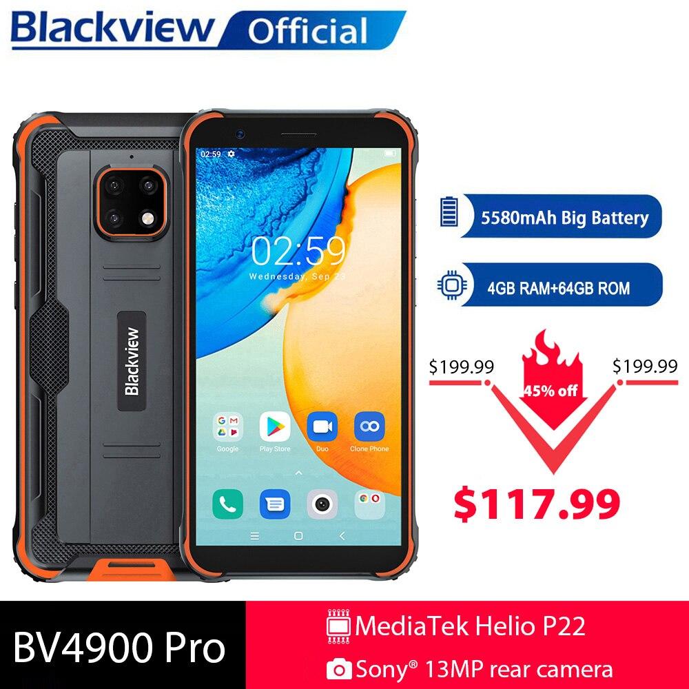 Blackview BV4900 Pro IP68 جوّال المهامّ الوعرة 4GB 64GB ثماني النواة أندرويد 10 مقاوم للماء الهاتف المحمول 5580mAh NFC 5.7 بوصة 4G الهاتف المحمول