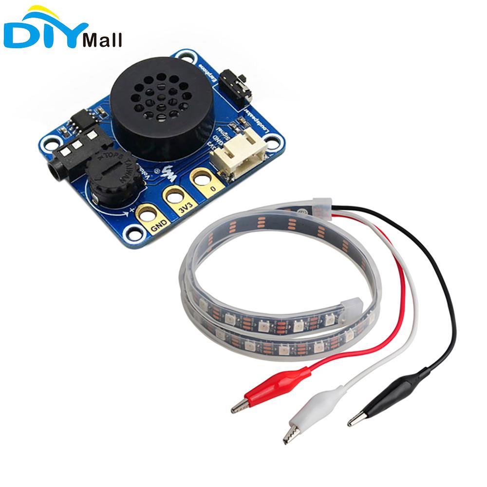 Micro Altavoz de bit reproductor de música con tira LED SK6812 con pinzas de cocodrilo para Arduino Raspberry Pi Microbit Nodemcu Node32S