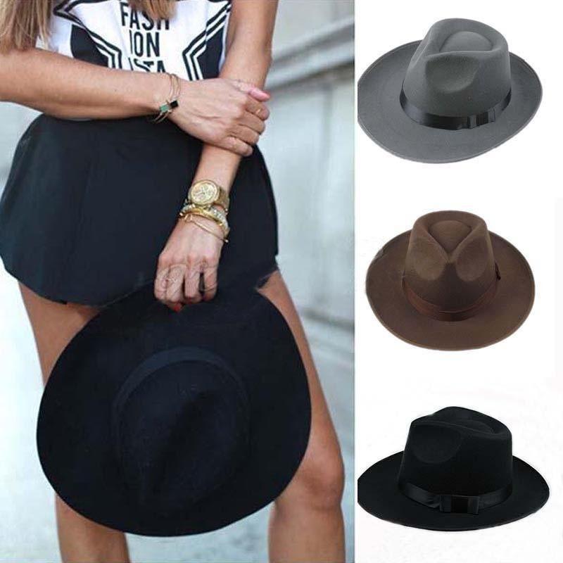 Men Women Thick Wool Vintage Retro Jazz Hat Felt Fedora Wide Brim Bowler Cap Black Gray Cowboy Grey Unisex Hats
