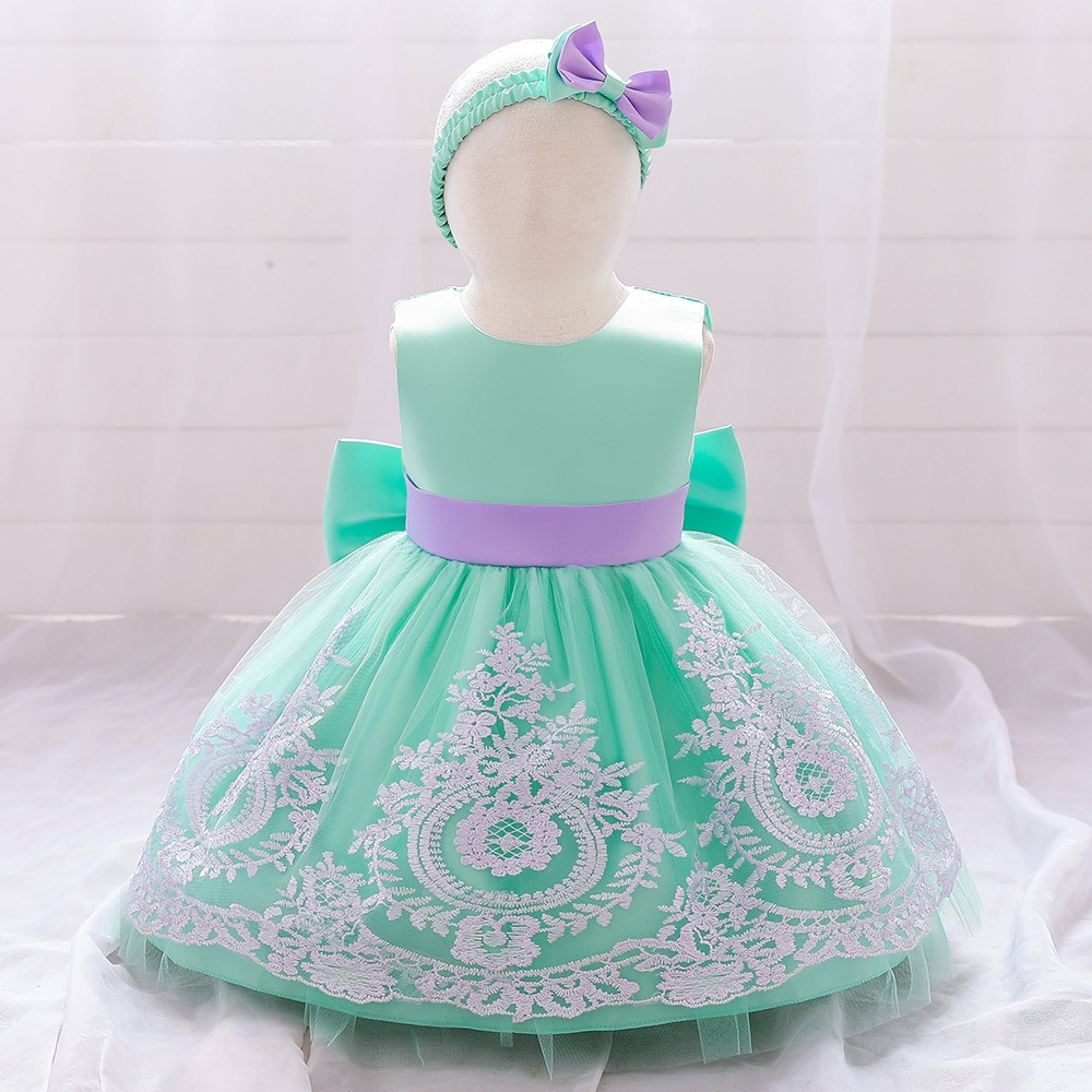 Fancy Christmas Kids Lace  Wedding Flower Girls Dress Princess Party Pageant Formal Dress Prom  Birthday Dress children flower girls dress princess kids dress with bow summer flower girls wedding party clothes kids prom gowns with necklace