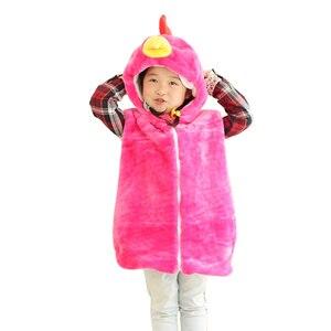 DOUBCHOW Baby Clothing Cute Animal Vest Unisex Children's Cartoon Rose Hen Winter Hooded  Kids Plush Outwear Coat Fleece Inside