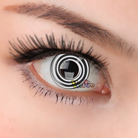 1 par = 2 pçs naruto ninja cosplay colorido lente de contato para halloween personagem dos desenhos animados escrever sprial olhos bonito aluno cl113