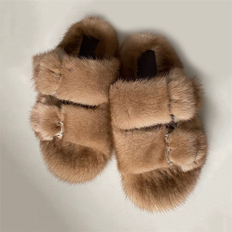 Designer Slides High Quality Mink Fur Slippers Lasdies Fur Slippers Flat Heel Slippers Women Shoes Fur Slides for Women Slides