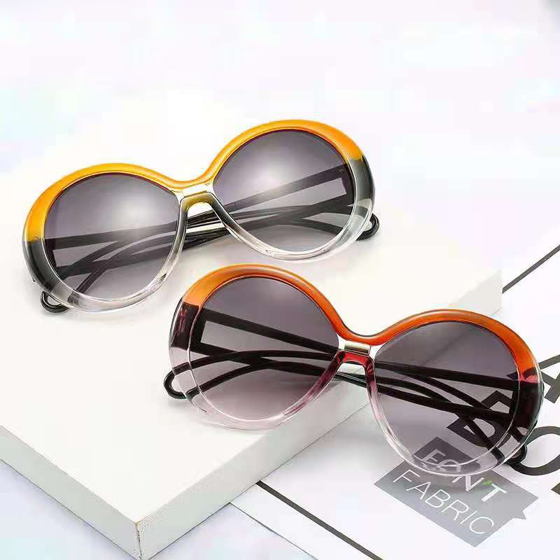 European and American round frame sunglasses womenwomen hollow temple glasses men round gradient col