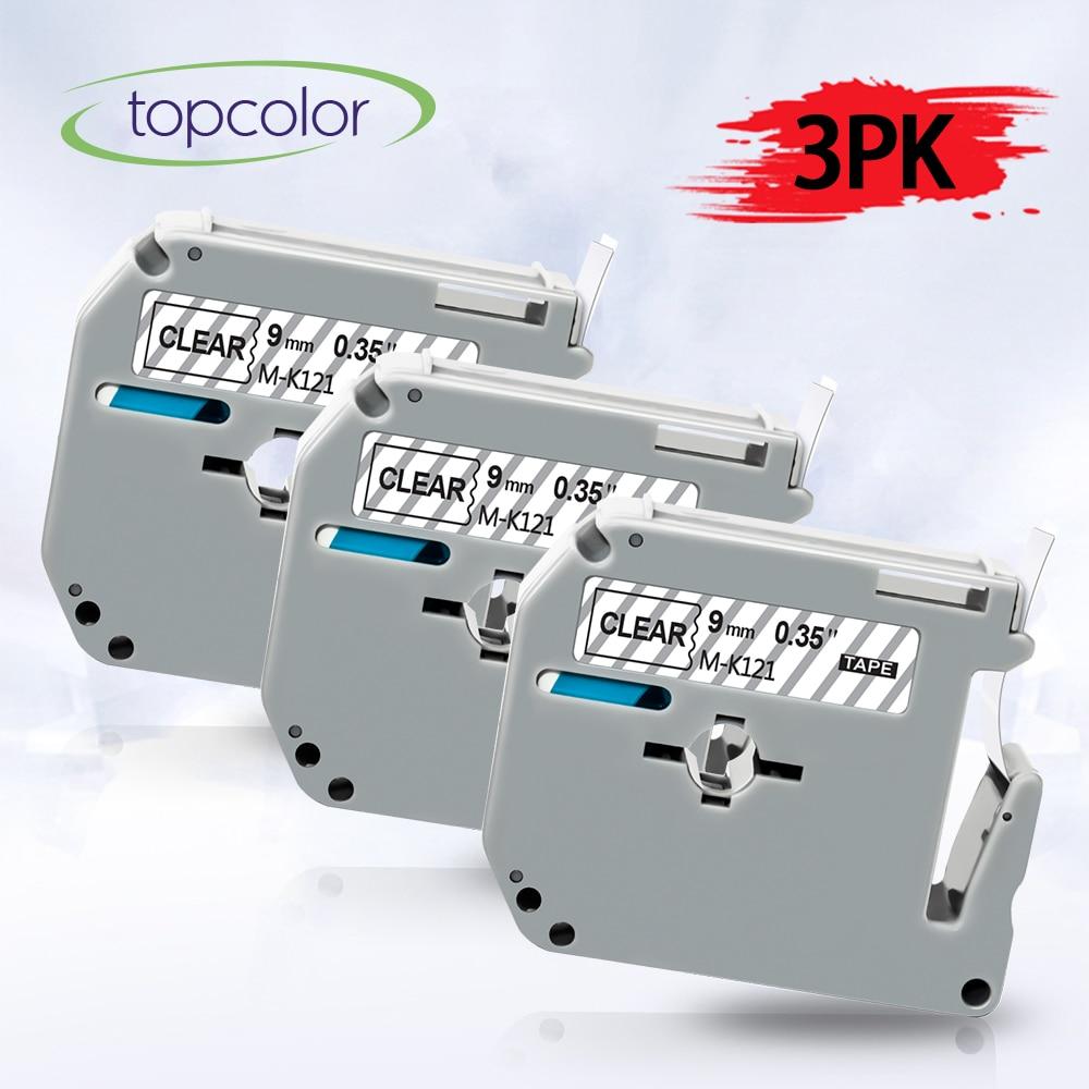 Topcolor, Compatible con Brother MK 121 m-k121, cinta de etiquetas de MK-121, 9mm, negro en transparente para impresora P Touch PT-100 PT-110 65