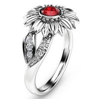 fashion boho style sun flower sunflower ring female red crystal stone wedding ring bohemia jewelry for women accessoires