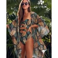 one piece swimsuit bandeau swimwear women 2021 print bow monokini push up backless bathing suits floral sexy bodysuit beachwear