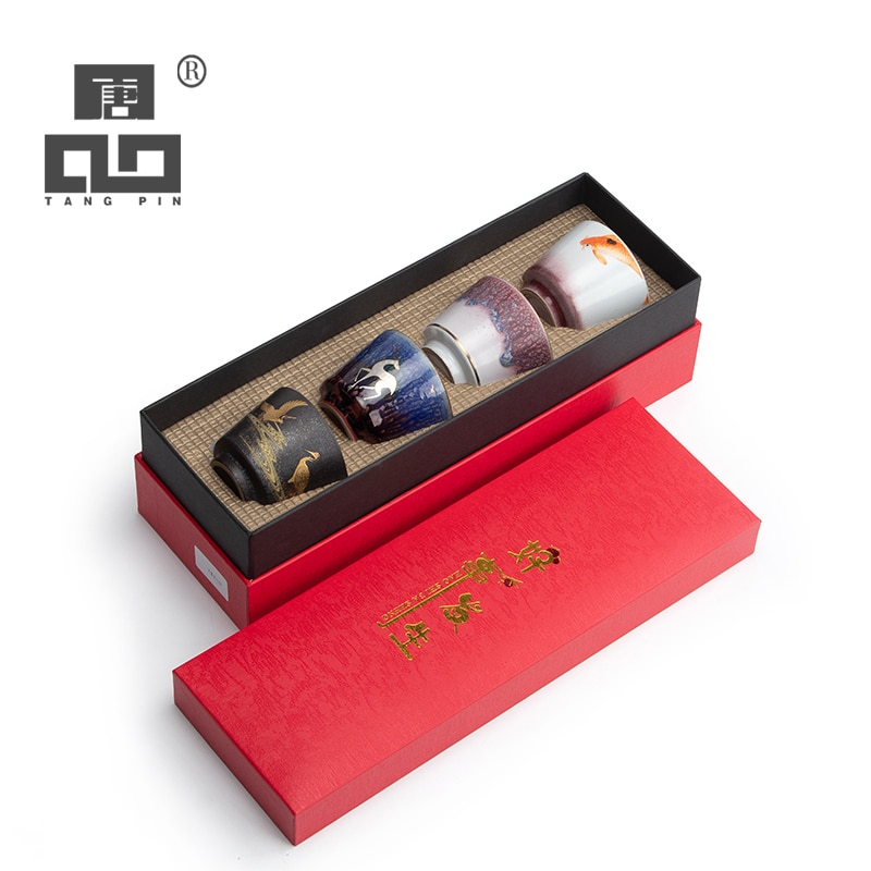 TANGPIN-طقم شاي سيراميك ، 4 أكواب ، فنجان كونغ فو ، مع صندوق هدايا