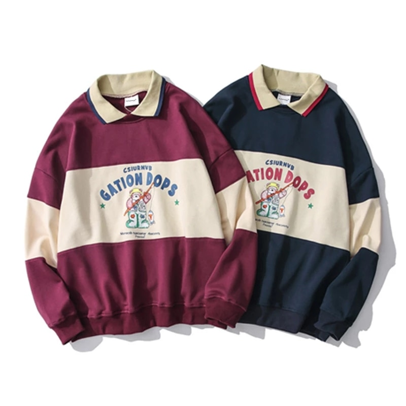 Striped Patchwork Hoodies Autumn Sweatshirts Men Cute Print Casual Hooded Pullover Couples False Two Harajuku Colthing