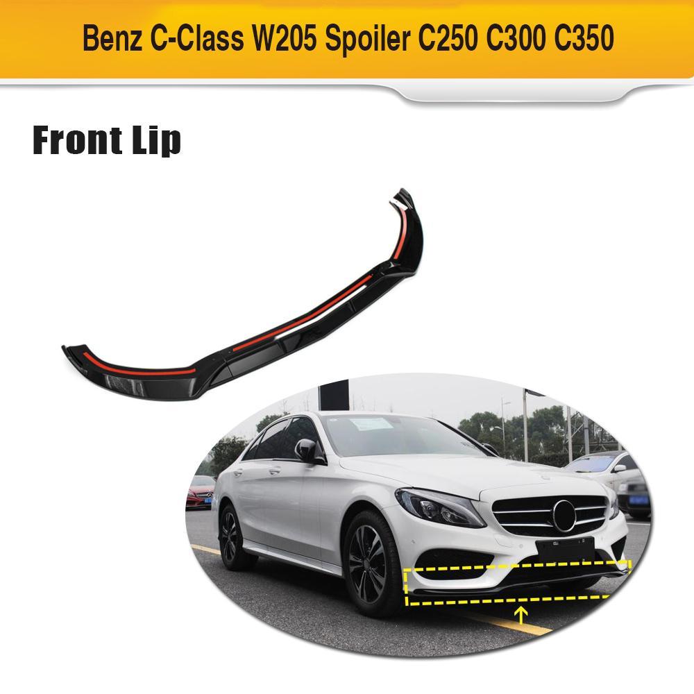W205 Front Bumper Lip Spoiler Splitters for Mercedes-Benz Class W205 C180 C200 C300 Sport 2015-2018 PP Gloss Black Front Lip