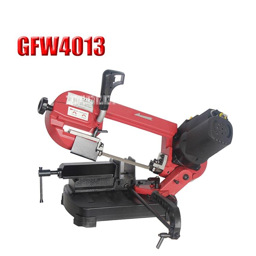 Nova gfw4013 portátil metal serra de fita de 5 polegadas pequeno duplo-uso máquina de serra de banda para trabalhar madeira serra de fita máquina 220 v 550 w 38-80 m/min