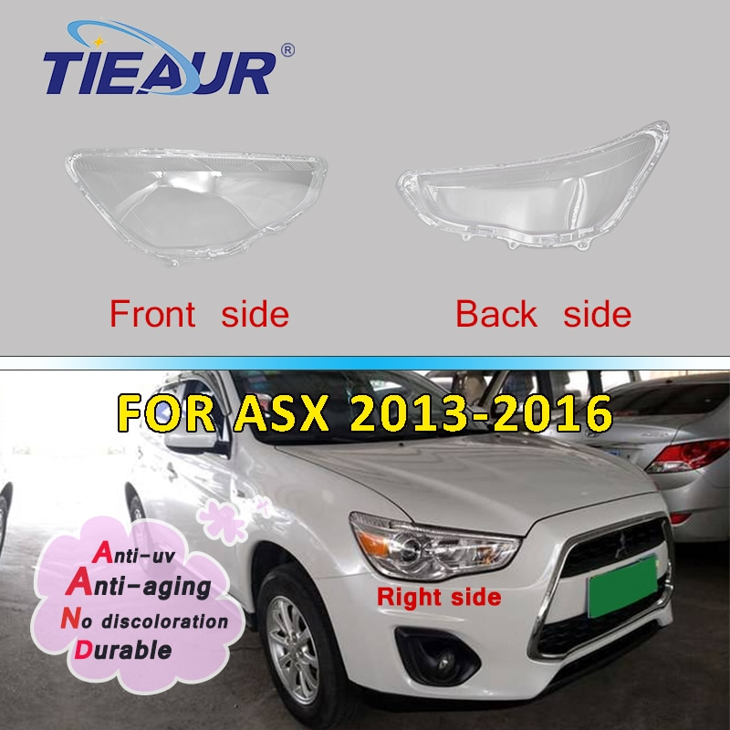 Car Headlight Headlamp Clear Glass Lens For Mitsubishi ASX Transparent Auto Shell Cover 13-16 Lampshade Lens Replacement DIY