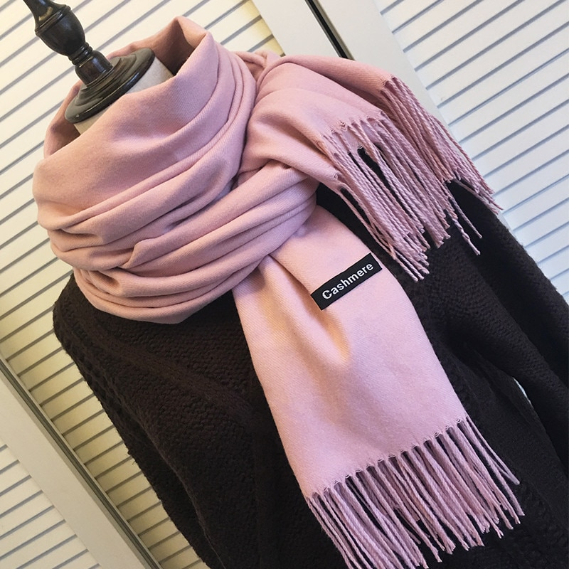 Women Solid Color Cashmere Scarves with Tassel Lady Winter Autumn Long Scarf Thinker Warm Female Sha