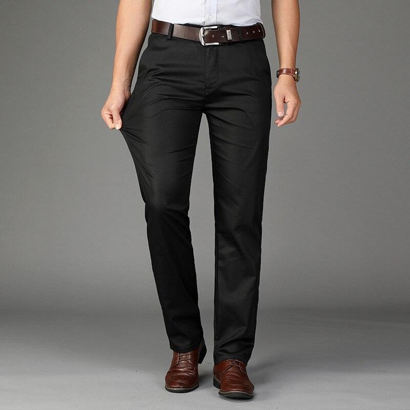 Мужские повседневные брюки, осенние шелковые мужские брюки, свободные прямые деловые мужские брюки, тонкие длинные мужские брюки среднего ...