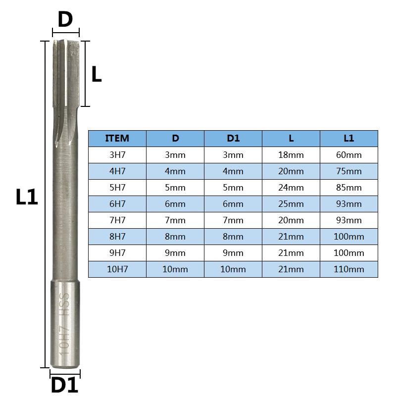 1pc H7 Chucking Reamer High Speed Steel Sraight Shank Reamer 2mm/3mm/4mm/5mm/6mm/7mm/8mm/9mm/10mm/11mm/12mm Machine Reamer enlarge