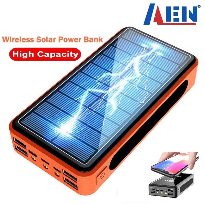Banco de energía de 50000mAh, cargador externo de carga rápida inalámbrico Solar para teléfono móvil, 4 USB, Banco de energía, luz LED para Iphone Xiaomi Mi