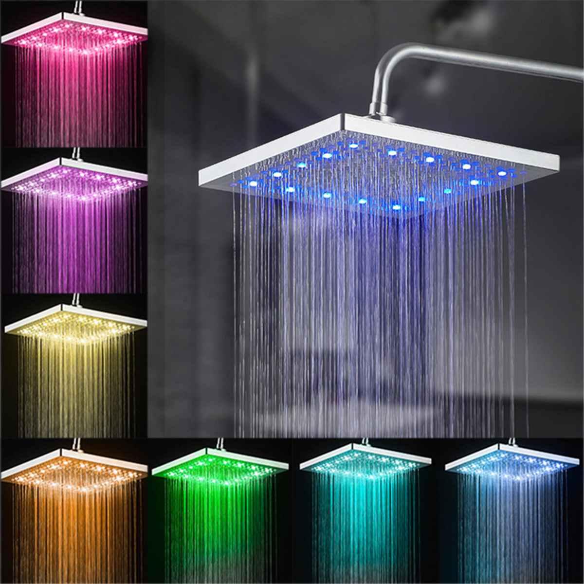 8 بوصة مربع LED الأمطار دش رئيس تلقائيا RGB 7 اللون تغيير درجة الحرارة الاستشعار دش رئيس صنبور رئيس للحمام