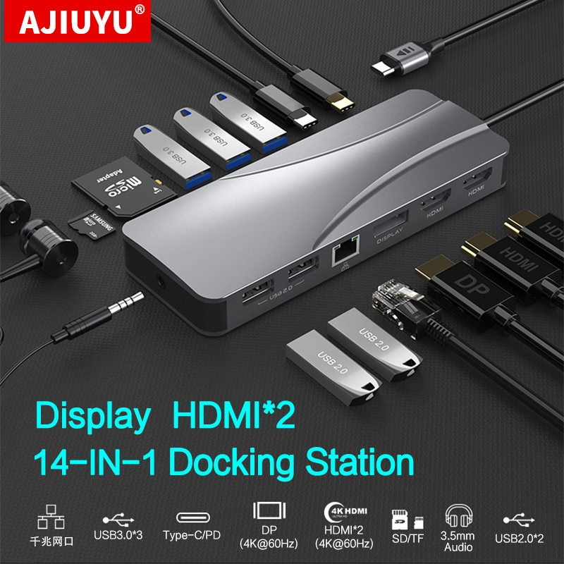 USB C HUB إلى متعدد USB 3.0 HDMI 4K VGA عرض محول قفص الاتهام لماك بوك اير برو كمبيوتر محمول ملحقات نوع c USB-C الفاصل ميناء