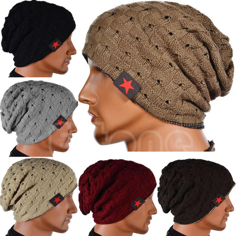 Winter Warm Men Star Skull Chunky Hat Women Knit Beanie Reversible Baggy Snow Cap Male Oversize Causal Accessories