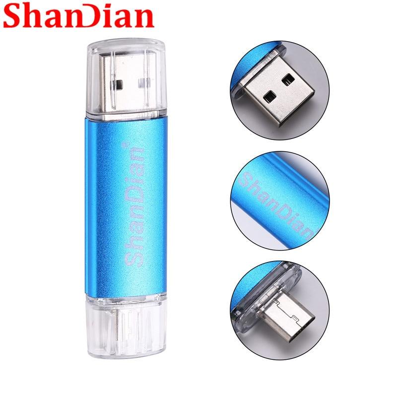 SHANDIAN New wholesale fashion Smart Phone usb flash drive 16GB32g 64GB thumb drive pen driver memory stick card pen drives gift