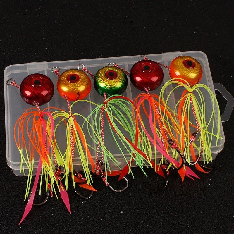 5 uds paquete de 60g -150g Tai condones Kabura Slider plantilla Madai plomo señuelos Jigging de agua salada pargo rojo cebos de Pesca de Mar barco