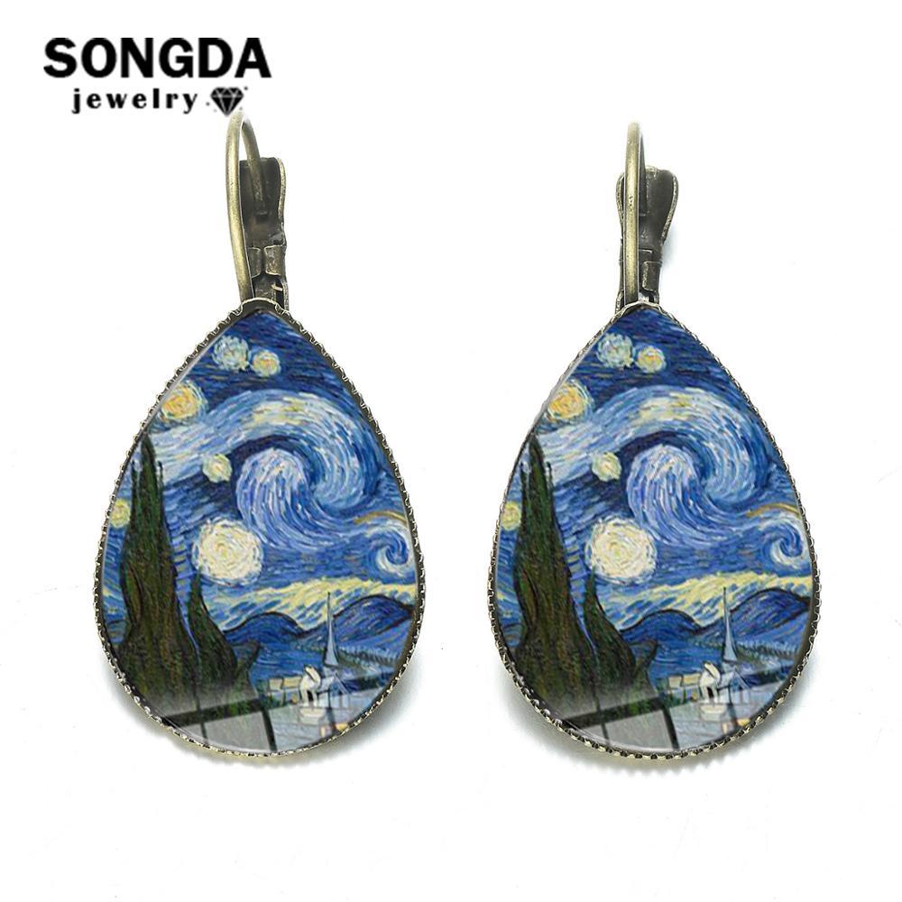 Songda van gogh noite estrelada brincos de girassol bronze do vintage famoso artista pintura a óleo cúpula de vidro gota de água jóias