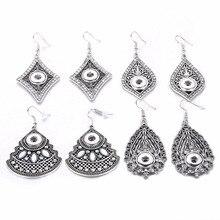 New 12mm Snap Earrings Vintage Water Drop Earrigs Ethnic Hollow out Mini Button Earrings Crystal Rhinestone for women