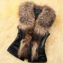 Vest Women winter Casual Plus Size Leather Faux Fur Vest Coat Faux Fox Fur Collar Vest Sleeveless Winter Jacket Coat Women