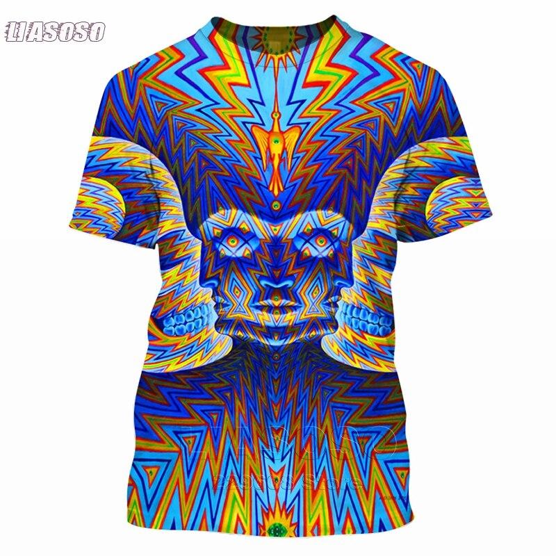 LIASOSO, camiseta para hombre y mujer, estampado 3d, colorido, Trippy, ropa de verano a la moda, Hip Hop, estampado, camisetas psicodélicas con calavera