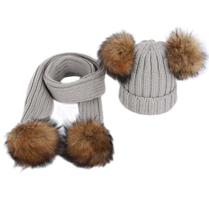 Шапка с помпоном для мальчиков и девочек, теплая вязаная шапка с помпоном с меховым помпоном и шарф, детская зимняя шапка с помпоном из натур...