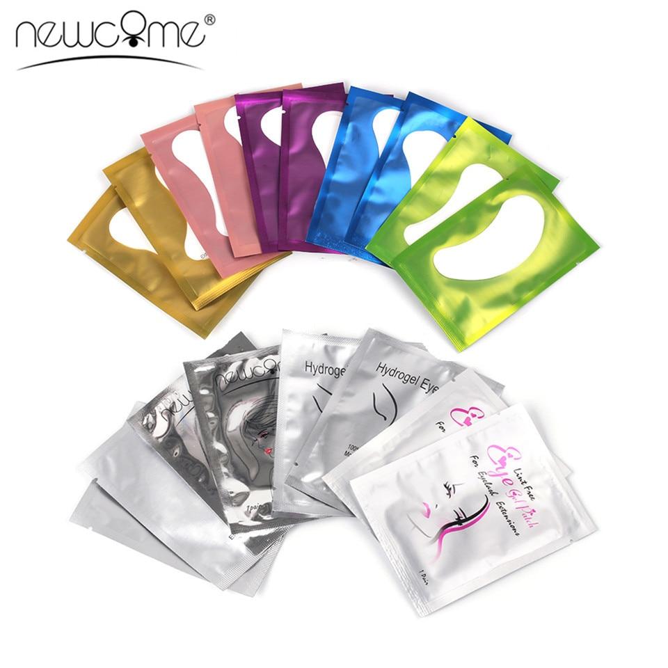 NEWCOME profesional 20/50/100 pares de parches de Gel para ojos sin pelusas para extensiones de pestañas almohadillas para ojos pegatinas de papel suave parche maquillaje