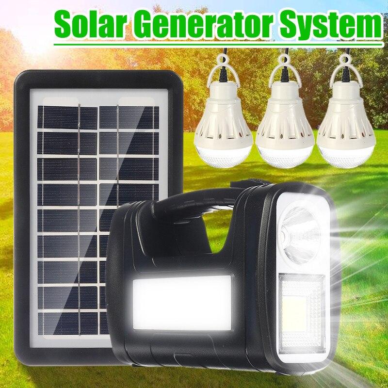 مولد طاقة شمسية 4000 مللي أمبير مع 3 لمبات LED ، نظام منزلي ، لوحة طاقة شمسية ، مولد تخزين ، شاحن USB دائم ، مصباح طوارئ