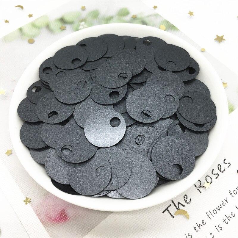 Paillettes PVC noir mat de 20mm   Paillettes amples rondes plates et rondes, avec gros trou latéral, vêtement de couture, taille 20g