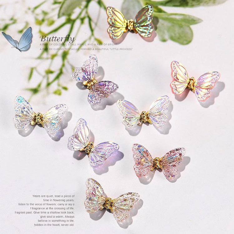 3D Zircon Butterfly Glitter AB Nail Art Decorations New Year Home Fashion Nail Polish Ornament Manicure Decals Accessories