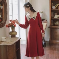 2021 autumn new arrival dresses for women vintage high quality embroidery bow long sleeve girl long dress