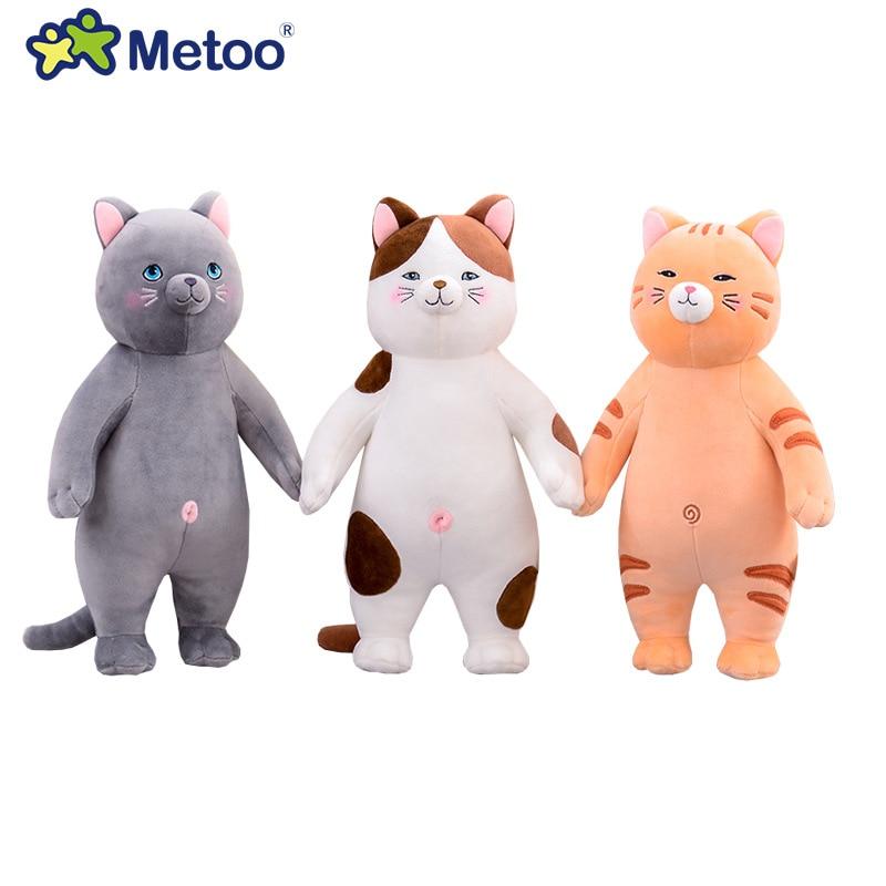Novo 25cm 34cm 50cm 70cm metoo gato boneca travesseiro animal de pelúcia almofada adorável macio brinquedo de pelúcia para crianças presente de aniversário do bebê