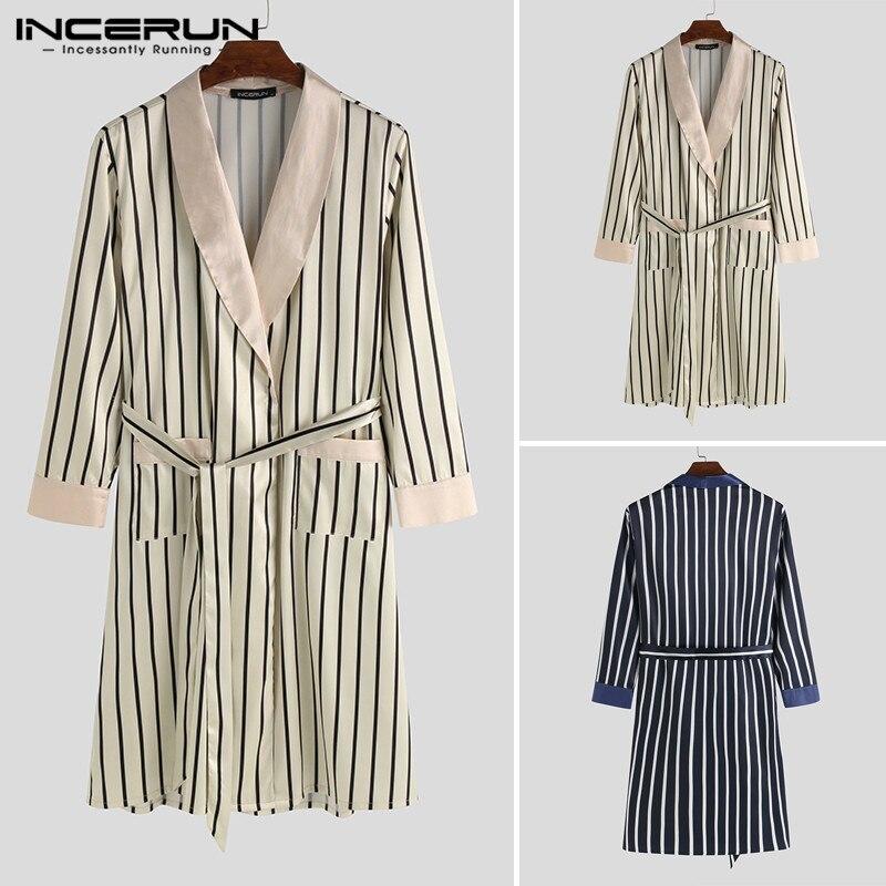 INCERUN moda hombres batas a rayas camisón de manga larga Kimono pijamas cuello pico ocio suave albornoces sueltos para hombres ropa de casa S-5XL