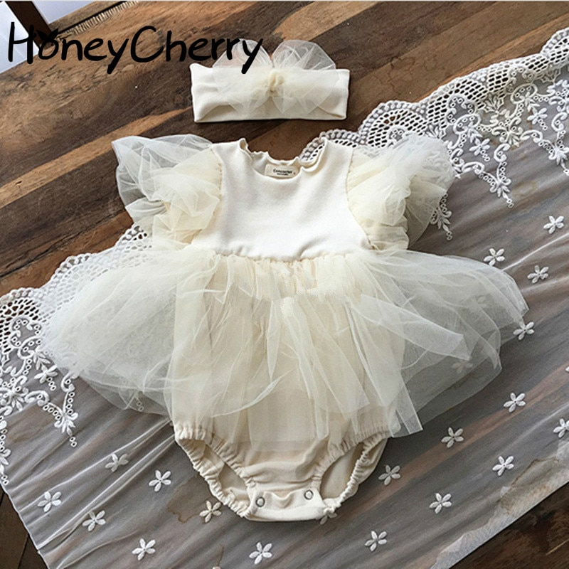 2020 verão bebê menina bodysuits princesa manga curta bodysuit bebê menina puff manga tule saia bodysuit meninas roupas
