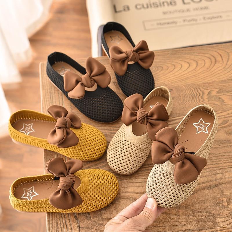 2021 Autumn Kids Girls Casual Flats Cute Butterfly Knot Kids Shoes Solid Color Children Girls Dance
