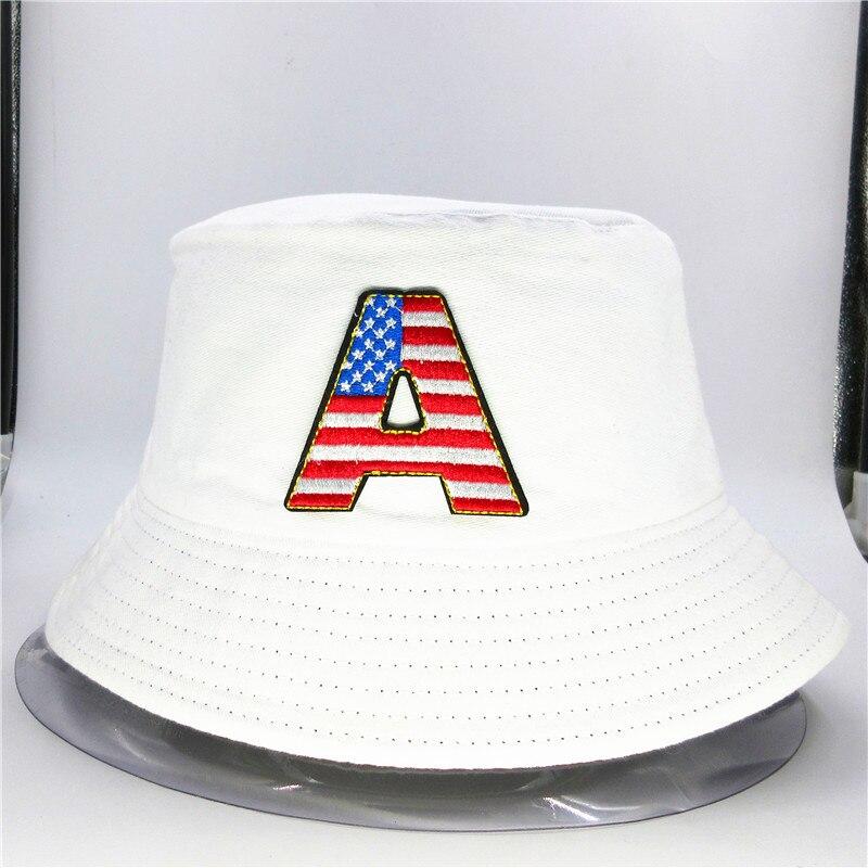 Bandera Americana sombrero de pescador bordado de algodón sombrero de pescador de viaje al aire libre sombrero para el sol gorra sombreros para chico hombres mujeres 62