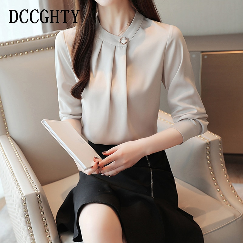 Blusas de manga larga Camisas de mujer Oficina Coreana Blusas de chifón Blusas de mujer Blusa Casual Blusa femenina de talla grande