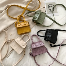 Women Mini Tote Bag 2020 New Crocodile Pattern Flip Messenger Crossbody Bag Female Simple Shoulder Bag Small Square Lady Handbag