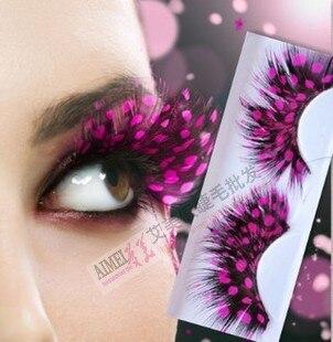 Envío gratuito nueva llegada encantadora mano hacer pestañas postizas turquesa ultra largo natural pluma fiesta eyelases maquillaje extensión