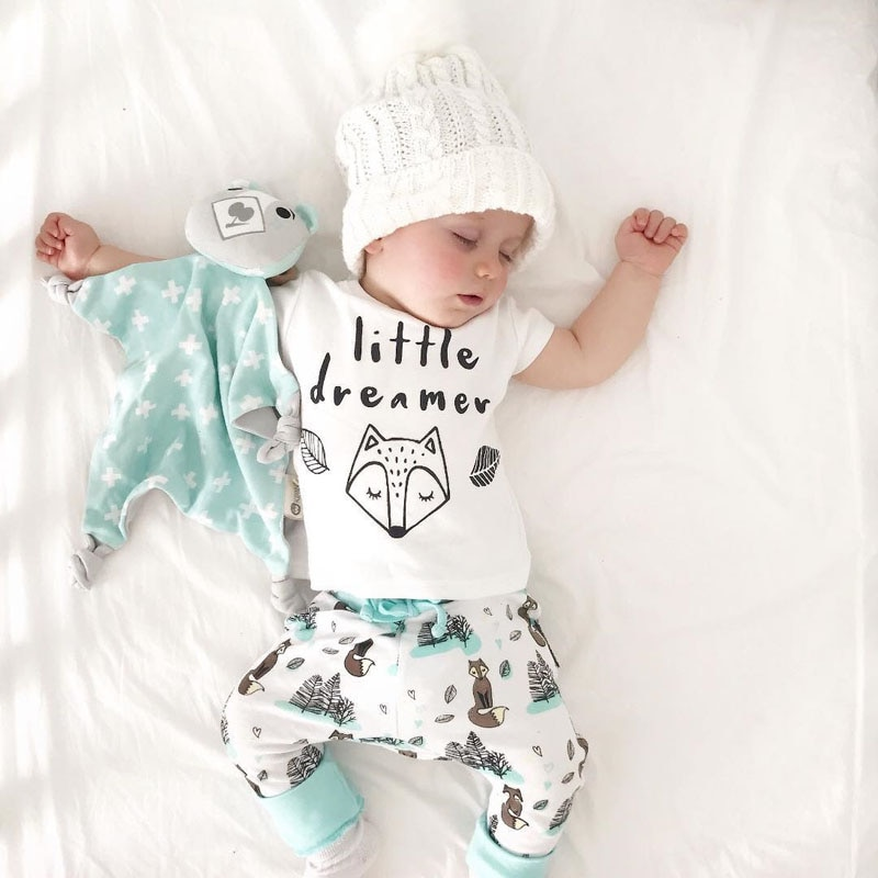 0-2Y Summer Baby Boy Clothes Set Newborn Little Dreamer Animal T-shirt Girl Tops+Pants Outfits Clothes Baby Clothing Set