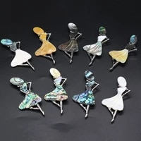 new natural shell women brooches alloy pins for 9 color weddings banquet office brooch pins gifts 37x80mm