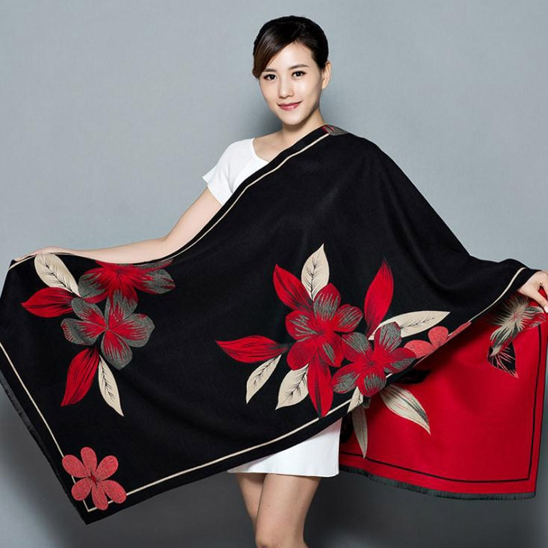 Xale feminino espessamento quente pashmina cashmere cachecol oversize macio cachecol xale multiuso cobertor bufanda mujer