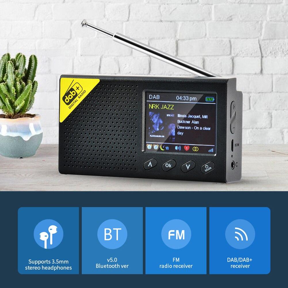 Портативный радиоприемник 5,0, цифровой стерео радиоприемник DAB/DAB +, уличная стереоколонка с ЖК-дисплеем 2,4 дюйма, перезаряжаемый FM-радио