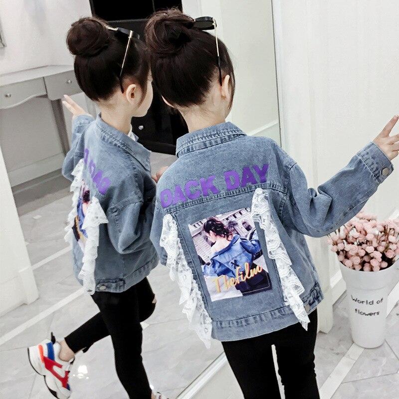Chaqueta vaquera para niñas con cuello chaqueta de Jeans de moda con dobladillo de borde crudo chaqueta de niñas adolescentes ropa de primavera
